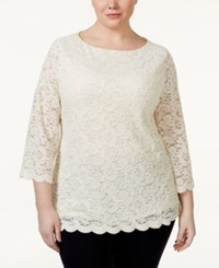 Charter Club Plus Size Three Quarter Sleeve Lace Blouse Only At Macy's Vintage Cream