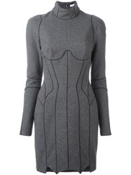 Thierry Mugler Panelled Fitted Dress Grey