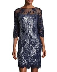 Marina Sequined Dress W Floral Lace Overlay Black Gold