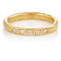 Malcolm Betts Women's White Diamond And Hammered Yellow Gold Band Gold No Color Gold No Color