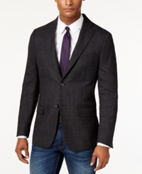Dkny Men's Slim Fit Charcoal Diamond Print Sport Coat