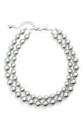 Kate Spade Women's New York 'Pearls Of Wisdom' Double Strand Faux Pearl Necklace Grey Multi