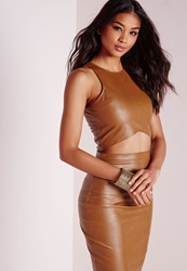 Missguided Faux Leather Crop Top Tan Brown