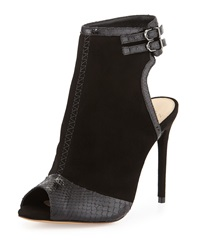 100Mm Open Toe Python Suede Bootie Black Alexandre Birman