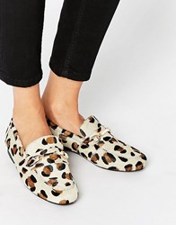 Asos Movement Leather Loafers Leopard Multi