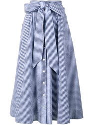 Lisa Marie Fernandez Gingham Check Full Skirt Navy Multi Coloured Navy Blue White Black