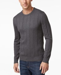 John Ashford Men's Big And Tall Crew Neck Striped Texture Sweater Only At Macy's Charcoal Heather