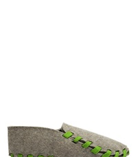 Lasso Felt Lace Up Slippers Green