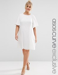 Asos Curve Swing Dress With Ruffle Sleeve Cream