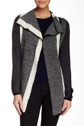 In Cashmere Striped Open Front Cashmere Cardigan Gray