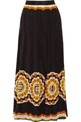 Anna Sui Printed Silk Chiffon Maxi Skirt Yellow