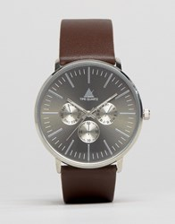 Asos Watch With Leather Strap In Brown Brown