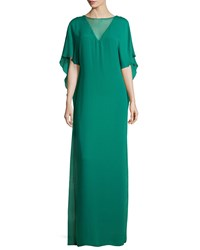Halston Illusion Neck Caftan Style Evening Gown Emerald Green