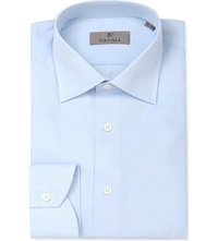 Canali Modern Fit Cotton Twill Shirt Blue
