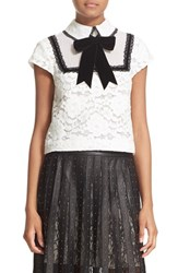 Alice Olivia Women's 'Vanetta' Pintuck Bib Lace Shirt With Velvet Bowtie White Black