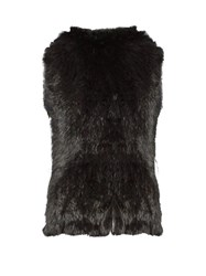 Yves Salomon Hooded Rabbit Fur Gilet Black
