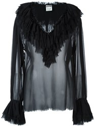 Moschino Vintage Sheer Ruffled Blouse Black