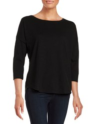 Lord And Taylor Boatneck Cotton Tee Black
