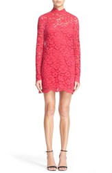 Tracy Reese Embellished Lace Mock Turtleneck Sheath Dress Geranium