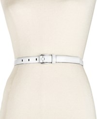 Calvin Klein Feather Edge Stitch Belt White Nickle