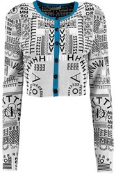 Mary Katrantzou Cropped Open Knit Cardigan White