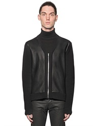 The Kooples Nappa Leather And Wool Rib Knit Cardigan