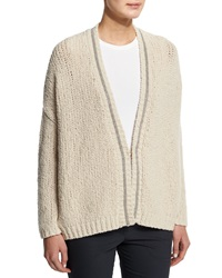 Brunello Cucinelli Chunky Knit Wool Blend Cardigan Cream Ivory