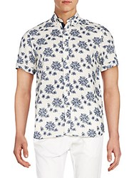 Report Collection Floral Print Linen And Cotton Short Sleeve Shirt Navy