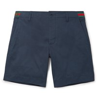 Gucci Embroidered Cotton Twill Shorts Blue