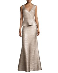 Herve Leger Sleeveless Peplum Bandage Gown Rose Gold