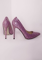 Missguided Stiletto Heel Court Shoes Patent Lilac Croc Purple