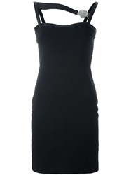 Versus Asymmetric Strap Embellished Dress Black