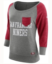 Nike Women's San Francisco 49Ers Vintage Crew Long Sleeve T Shirt Red Gray