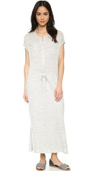 Vince Linen Henley Drawstring Dress Heather Grey