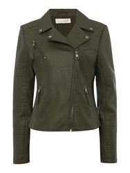 Maison De Nimes Break Faux Leather Jacket Khaki