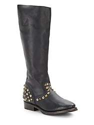 Ash Knee High Studded Leather Riding Boots Black