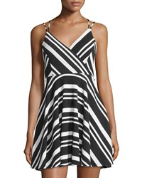 Romeo And Juliet Couture Striped Strappy Sleeveless Dress Black White