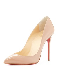 Christian Louboutin Pigalle Follies Patent Point Toe Red Sole Pump Nude