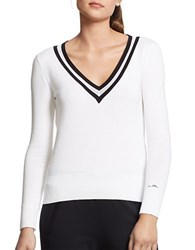 Lauren Ralph Lauren V Neck Cricket Sweater White Black