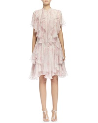 Alexander Mcqueen Floral Print Angled Multi Layered Ruffle Dress Silver Pink
