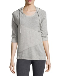 Marc Ny Performance Contrast Panel 3 4 Sleeve Hooded Sweatshirt Light Gray