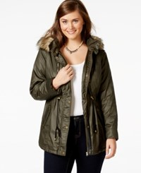 American Rag Plus Size Faux Fur Hood Cinch Waist Coat Only At Macy's Olive