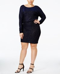 Jessica Howard Plus Size Glitter Blouson Dress Black Blue Silver