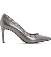 Dune Babylonn Studded Court Shoes Pewter Leather