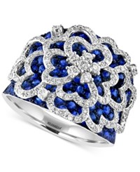 Effy Collection Royale Bleu Effy Sapphire 2 5 6 Ct. T.W. And Diamond 3 4 Ct. T.W. Flower Ring In 14K White Gold Blue