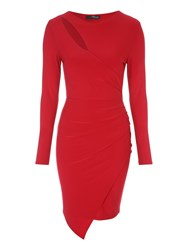 Jane Norman Slash Neck Asymmetric Wrap Dress Red