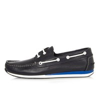 River Island Mens Navy Leather Sporty Boat Shoes