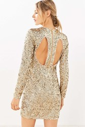 Kimchi And Blue Firestarter Long Sleeve Sequin Mini Dress Gold