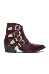 Toga Archives Embossed Leather Buckle Booties In Red Animal Print