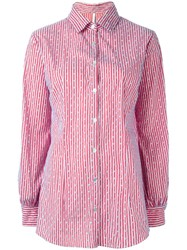 Alcoolique Striped Button Down Shirt Red